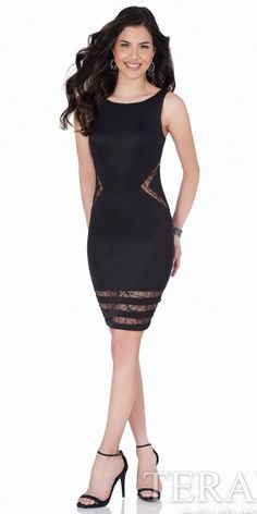 Spider Mesh Open Back Homecoming Dress by Terani Couture