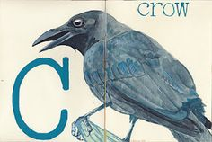 C is for crow. gouache.