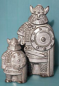 Vikings designed by Finnish ceramic designer Taisto Kaasinen for Upsala Ekeby, Sweden,1961.