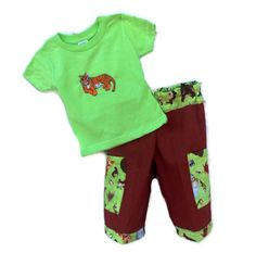 Baby Boys pants and T shirt 12 months green and by SouthernSister2, $30.00