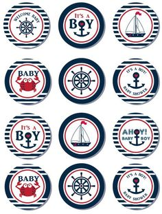 #cupcaketopper #nautical #babyshower #itsaboy #free #printable just save image adjust for bigger or smaller size, print and cut :)