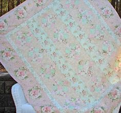 """Pink Diamonds: Pink Diamonds is a 65"""" x 86"""" shabby style quilt by Jennifer Bosworth for Shabby Fabrics.  Pattern includes all instructions for this beautiful and simple quilt!"""