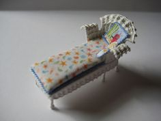 Quarter scale miniature wicker chaise lounger by CherylHubbardMinis on Etsy Beach Cabana, Green Beach, Beach Print, Cushion Fabric, Yellow Stripes, White Silk, Cheryl, Sea Shells, Printing On Fabric
