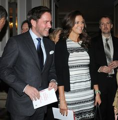Princess Madeleine and Chris O'Neill attend  the Christmas Lunch of the Swedish-American Chamber of Commerce. (Nanette Lepore dress)