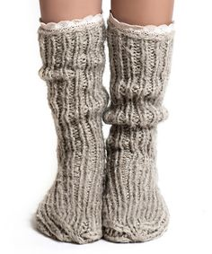 Look at this #zulilyfind! Biscuit Lace-Trim Slipper Socks by Lemon Legwear #zulilyfinds