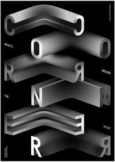 Man weiß nie, was um die Ecke ist - Gary Percival Freelance Graphic Design, Graphic Design Posters, Graphic Design Typography, Graphic Design Inspiration, Japanese Typography, Type Posters, Web Design, Type Design, Layout Design