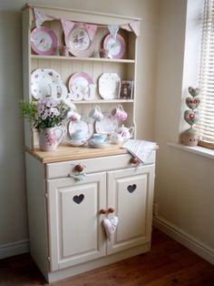 Shabby Chic painted pine dresser, painted in Annie Sloan Old Ochre Chalk Paint, waxed and distressed giving a country farmhouse look.