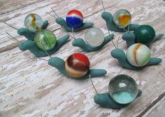 Set of 3 - Marble Miniature Fairy Garden Snails. Fairy Garden Accessories by…