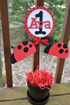 Ladybug Centerpieces 3 piece set by PartyShopCreations on Etsy, $11.00