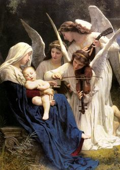 The Virgin Mary, Baby Jesus and the angels.  http://the-feathered-nest.blogspot.com/2014/12/with-love.html