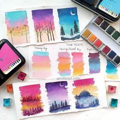 Since we've been the go-to site for watercolor techniques, watercolor painting ideas & watercolor tutorials. Learn how to paint! Watercolor Art Diy, Watercolor Art Paintings, Watercolour Tutorials, Watercolor Techniques, Watercolor Illustration, Painting & Drawing, Watercolor Landscape Tutorial, Watercolor Night Sky, Prima Watercolor