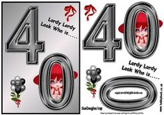 Ladies 40th Birthday QS on Craftsuprint - Add To Basket!
