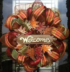 Fall Leaves Welcome deco mesh Wreath. $85.00, via Etsy.