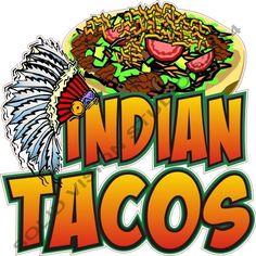 "14"" Indian Taco Concession Trailer Mexican Restauant Food Truck Cart SIgn Decal #SolidVisionStudio"
