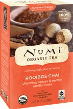 Numi Organic Tea Rooibos Chai | Our organic caffeine-free Chai blends rich Rooibos and a sultry blend of spices. Piquant cloves, nutmeg, and cinnamon mingle with sweet allspice, vivacious ginger and a kiss of cardamom. Great with milk!
