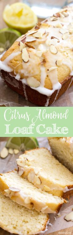 This lemon loaf cake is packed with tangy lemon and lime flavor and topped with a citrus almond glaze.
