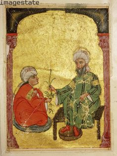 size: Photographic Print: Scene from an Arabic version of Dioscorides' Materia Medica, Mosul Iraq, 1228 by Werner Forman : Oriental, Old Master, Illuminated Manuscript, Middle Ages, Middle East, Heritage Image, Islamic Art, Find Art, Framed Artwork