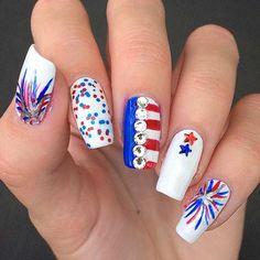 Nails 2019 Create of July Nail Art Designs! summer nail of July Nail Art Designs;Stars and Stripes; Shellac Nails, Toe Nails, Pink Nails, Manicures, Stiletto Nails, Flag Nails, Patriotic Nails, Seasonal Nails, Holiday Nails
