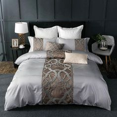 Cheap king bed set, Buy Quality cotton bedding set directly from China sheet set Suppliers: Silver Grey luxury Egyptian cotton bedding set queen king bed set Chinese embroidery duvet cover bed sheet set pillowcase Duvet Bedding Sets, Cheap Bedding Sets, Cotton Bedding Sets, Affordable Bedding, King Comforter, Comforters, Gold Bedding, Lace Bedding, Luxury Duvet Covers