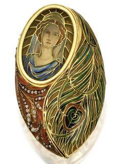Gold, Plique-à-Jour Enamel and Diamond Pill Box, Circa 1900. Depicting a maiden…
