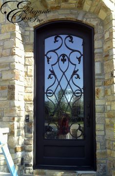 Custom wrought iron door. Entrance, Doors, Single Doors, Iron Gates, House Design, Wrought Iron Doors, Back Doors, Iron Doors, Glass Door