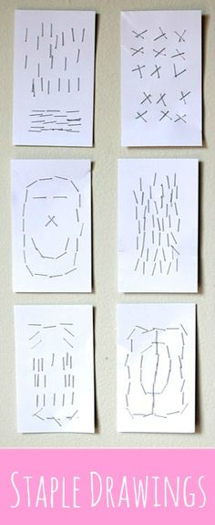 Give your kids a stapler and some blank index cards and they'll make some awesome art. This easy project keeps them captivated for a surprisingly long time!   • Artchoo.com