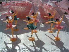 Half Dozen Shabby Chic cupcake Ballerina toppers
