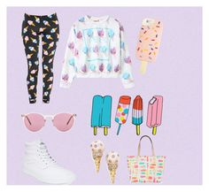 """""""ice-cream"""" by cassi-h ❤ liked on Polyvore featuring BD Fine Wallcoverings, Tory Burch, ZooShoo, Vans, Oliver Peoples, Tattly and Kate Spade"""