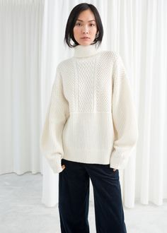 Model front image of Stories in beige White Oversized Sweater 5e01d7a12