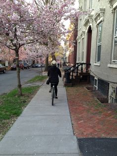 Riding in downtown Schenectady, Stockade district.