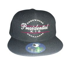 Presidential Kid Snapback Presidential Kid Snapback - Black hat with Red Lines White lettering - 100% Cotton Price: $24.99