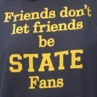 Beat State!!! I confess: I have a spartan (lower case) daughter & sister. So, yeah, Meredith and JM.