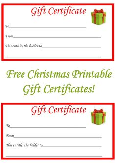 Free Christmas Printable Gift Certificates  Personalized Gift Certificates Template Free