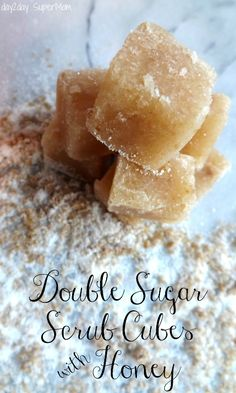 Double Sugar Scrub Cubes With Honey - Sugar Scrubs meets Soap in this easy, handmade, Melt & Pour soap recipe! Melt & Pour soap is a great way… Honey Sugar Scrub, Sugar Scrub Cubes, Sugar Scrub Recipe, Sugar Scrub Diy, Sugar Scrubs, Salt Scrubs, Honey Soap, Sugar Sugar, Diy Body Scrub