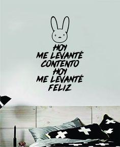 Bad Bunny Hoy Me Levante Feliz YHLQMDLG Wall Decal Home Decor Sticker Vinyl Bedroom Room Quote Spanish Music Reggaeton Girls Funny Teen Lyrics - red