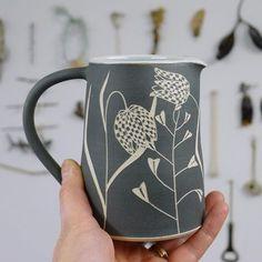 Will springtime ever come? #ceramics #stoneware #sgraffito #handthrown #handmade #milkjug #pourer #pitcher #snakesheadfritillary #shepherdspurse #wildflowers #makersgonnamake #makersmovement #seekthesimplicity #cremerging #waitingforspring