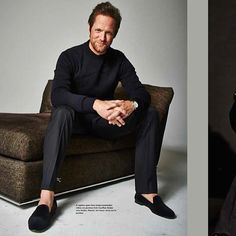 EYE SPY STUBBS! Matt Letscher wearing a pair of Classic Velvet Slippers in Downtown Magazine's Holiday Issue #MattLetscher #stubbsandwootton #velvetslippers
