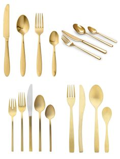 Gold Cutlery Clockwise from top left 1. Bloomingville http://royaldesign.com/au/viewitem.aspx?ID=144364 2. Salt&Pepper http://www.myer.com.au/shop/mystore/all-dining/salt-pepper-host-rosegold-cheese-and-pate-knife-367241860--1 3. West Elm http://www.westelm.com.au/gold-flatware-c698 4. Freedom http://www.freedom.com.au/homewares/tableware/cutlery/23527010/charm-16-piece-cutlery-set-gold-colour/
