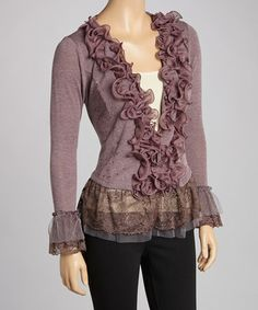 Take a look at this Mauve Ruffle Linen-Blend Top by Pretty Angel on #zulily today!  So cute!!!  $29.99 from 71.00