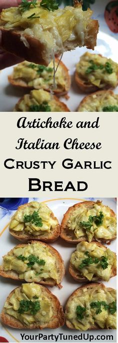 ARTICHOKE AND ITALIAN CHEESE CRUSTY GARLIC BREAD.  This easy new appetizer is a cross between crusty garlic bread and my favorite cheesy Artichoke Dip.  The two paired together beautifully for a delicious and easy treat that was a BIG hit!
