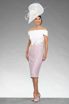 This short fitted dress features a striking bardot style neckline. The dress also features a graduated contrasting lace design. Mother Of The Bride Jackets, Mother Of Bride Outfits, Mother Of Groom Dresses, Mothers Dresses, Elegant Dresses, Cute Dresses, Bardot Style Dress, Dresses To Wear To A Wedding, Bride Dresses