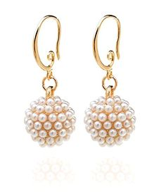 Ginasy Luxury Pearl Inlaid Spherical Dangle Drop Earrings 14k Gold Plated and Stainless Steel Stud Earrings 4mm-9mm 4-6 Pairs * Check out this great product.