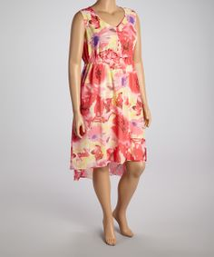Red & Pink Floral Empire-Waist Dress - Plus | Daily deals for moms, babies and kids