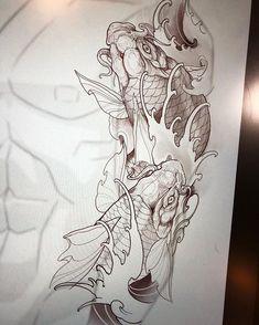 Koi Tattoo Sleeve, Full Sleeve Tattoo Design, Japanese Koi Fish Tattoo, Japanese Tattoo Designs, Betta Fish Tattoo, Koi Tattoo Design, Koi Fish Designs, Le Zoo, Purple Wallpaper Iphone