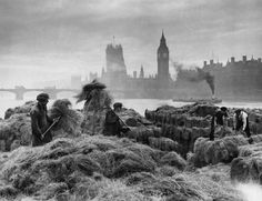 © Hulton-Deutsch Collection / Corbis, 1938, Rural scene in London ---  Unloading hay at warehouses on the South Bank. London still had horses to feed. This seemingly rural scene is contrasted by a view of the Houses of Parliament in the background.  From the book London: Portrait of a City (Reuel Golden), recently released by Taschen.