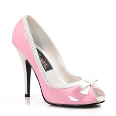 5 Inch Womens Dress Shoes High Heel Peep Toe Classic Pump Shoes With Contrast Heel Bow Baby Pink / White Patent