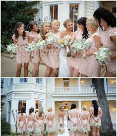 Lace Bridesmaid Dress Lace Short Bridesmaid Dress by StunningDress, $124.99. Wish they were cheaper...I LOVE them!