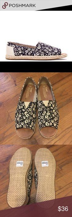Toms open toe Alpargatas. Never worn! NWOT. Black textile floral open toe Alpargatas. Your new favorite espadrilles. Toms Shoes Espadrilles