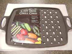 Enamel coated cast iron hold heat longer, great for vegetables. Perforated bottom allows for perfect browning. http://www.OutdoorRoomsStore.net/product/6388/Cast-Iron-Grid-/