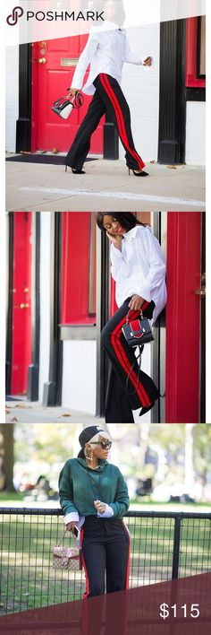 Zara trousers red side band Zara Black and red trousers great fit Zara Pants